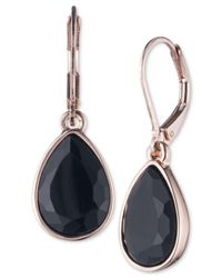 Nine West - Black Teardrop Drop Earrings - Lyst