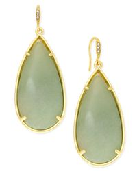 ABS By Allen Schwartz - Gold-tone Large Green Stone Teardrop Earrings - Lyst