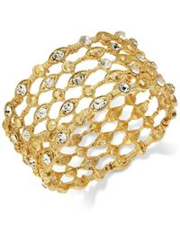 INC International Concepts - Metallic Gold-tone Crystal Grid Stretch Bracelet - Lyst