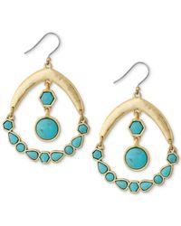 Lucky Brand - Metallic Gold-tone Blue Stone Chandelier Earrings - Lyst