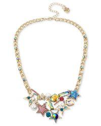 Betsey Johnson - Metallic Gold-tone Multi-stone & Imitation Pearl Star Statement Necklace - Lyst