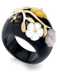 Macy's - Black Jade Or Onyx And Multicolored Mother Of Pearl (8mm) Flower Ring In 14k Gold Over Sterling Silver - Lyst