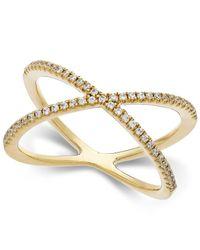 Arabella - Metallic Swarovski Zirconia X-ring In 14k Gold - Lyst
