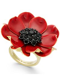 Kate Spade - Red 14k Gold-plated Enamel And Stone Poppy Ring - Lyst