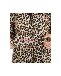 Kate Spade   Brown Cheetah-print Pajama Set With Embroidered Eye Mask   Lyst