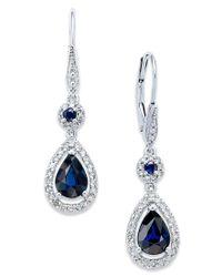 Macy's | Blue Sapphire (1-3/4 Ct. T.w.) And Diamond (1/3 Ct. T.w.) Drop Earrings In 14k White Gold | Lyst