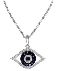Effy Collection | Metallic Sapphire (1/4 Ct. T.w.) And Black And White Diamond (1/8 Ct. T.w.) Evil Eye Pendant In 14k White Gold | Lyst