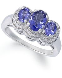 Macy's | Metallic Sterling Silver Ring, Tanzanite (1-1/4 Ct. T.w.) And Diamond Accent 3-stone Ring | Lyst