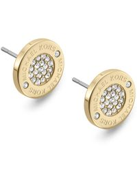 Michael Kors - Metallic Heritage Plaque Pave Logo Stud Earrings/goldtone - Lyst
