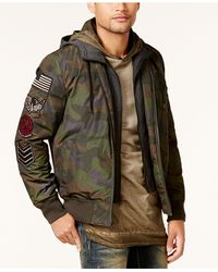 American Rag - Multicolor Men's Hooded Camo Bomber Jacket for Men - Lyst