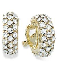 Lauren by Ralph Lauren | Metallic 14k Gold Plated Pave Crystal Small Hoop Clip On Earrings | Lyst