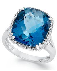 Macy's | 14k White Gold Ring, Cushion-cut London Blue Topaz (9-3/8 Ct. T.w.) And Diamond (1/5 Ct. T.w.) Ring | Lyst