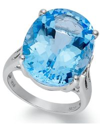 Macy's | Sterling Silver Ring, Blue Topaz Oval Ring (21-9/10 Ct. T.w.) | Lyst