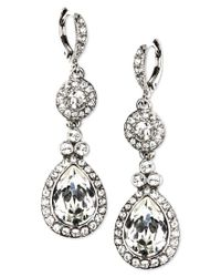Givenchy | White Earrings, Silver-tone Swarovski Element Double Drop Earrings | Lyst