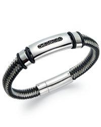 Macy's   Metallic Men's Black Diamond Bracelet In Nylon And Stainless Steel (1/10 Ct. T.w.) for Men   Lyst
