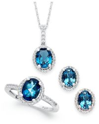 Macy's | London Blue Topaz And White Topaz Jewelry Set (5-1/2 Ct. T.w.) In Sterling Silver | Lyst