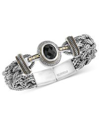 Effy Collection - Metallic Onyx (12 X 10mm) And Diamond (1/8 Ct. T.w.) Braided Bracelet In Sterling Silver With 18k Gold Accents - Lyst