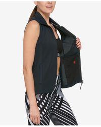 Tommy Hilfiger - Black Perforated Zip-front Vest - Lyst