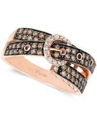 Le Vian | Pink Chocolate (5/8 Ct. T.w.) And White Diamond (1/10 Ct. T.w.) 2-row Buckle Ring In 14k Rose Gold | Lyst