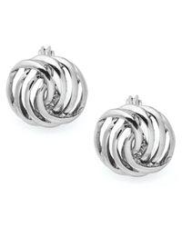 Charter Club - Metallic Silver-tone Openwork Button Earrings - Lyst