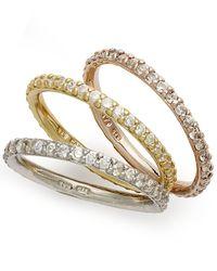 Giani Bernini   Metallic Tri-tone Rings Set, Set Of 3 Cubic Zirconia Stackable Rings (2-1/5 Ct. T.w.)   Lyst
