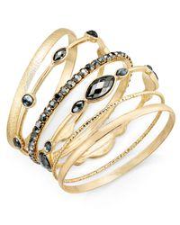 INC International Concepts - Metallic Gold-tone 6-pc. Set Hematite Stone Bangle Bracelets, - Lyst
