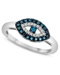 Macy's | Sterling Silver Ring, Blue Diamond (1/10 Ct. T.w.) And White Diamond Accent Evil Eye Ring | Lyst