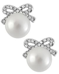 Betsey Johnson - Metallic Silver-tone Crystal Bow Imitation Pearl Stud Earrings - Lyst