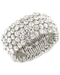 Carolee - Metallic Silver-tone Crystal Stretch Bracelet - Lyst