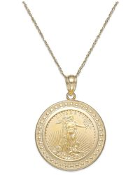 Macy's - Metallic Genuine Eagle Coin Pendant Necklace In 22k And 14k Gold - Lyst