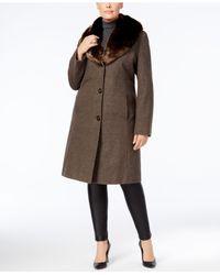 Jones New York - Brown Plus Size Faux-fur-collar Walker Coat - Lyst