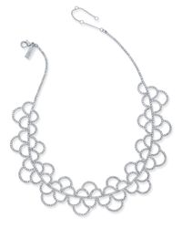 INC International Concepts - Metallic Silver-tone Crystal Scallop Statement Necklace - Lyst