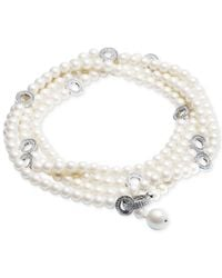 Carolee - White Silver-tone Pavé Ring & Imitation Pearl Convertible Strand Necklace - Lyst