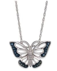 Macy's | Metallic Sterling Silver Necklace, Blue And Green Diamond Accent Butterfly Pendant (1/10 Ct. T.w.) | Lyst