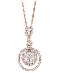 Le Vian   Pink Diamond Diamond Double Circle Pendant (7/8 Ct. T.w.) In 14k Rose Gold   Lyst