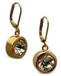 T Tahari - Metallic Earrings, Gold-tone Bezel Crystal Signature Drop Earrings - Lyst
