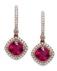 Macy's - Multicolor Rosa By Effy 14k Rose Gold Earrings, Ruby (2-7/8 Ct. T.w.) And Diamond (3/8 Ct. T.w.) Drop Earrings - Lyst