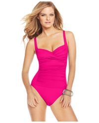 La Blanca | Pink Ruched Twist-front One-piece Swimsuit | Lyst