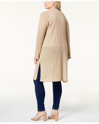 Love Scarlett - Natural Plus Size Open-front Duster Cardigan - Lyst