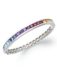 Macy's | Metallic Sterling Silver Bracelet, Multistone Rainbow Bangle Bracelet (8 Ct. T.w.) | Lyst