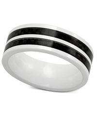 Macy's | Men's White Ceramic And Black Carbon Fiber Ring, Two-tone Band Ring for Men | Lyst
