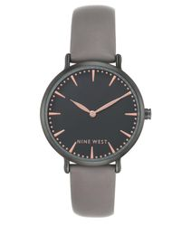 Nine West - Women's Gray Faux Leather Strap Watch 43mm - Lyst
