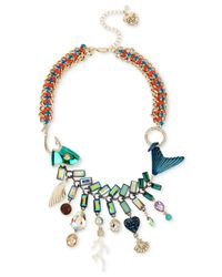 Betsey Johnson | Multicolor Gold-tone Multi-stone Fish Statement Necklace | Lyst