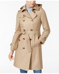 London Fog - Natural Belted Hooded Trench Coat - Lyst
