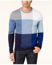 Alfani | Blue Men's Colorblocked Sweater for Men | Lyst