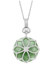 Macy's | Green Sterling Silver Necklace, Jade Flower Pendant (21 Ct. T.w.) | Lyst