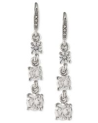 Carolee - Metallic Silver-tone Graduated Crystal Linear Drop Earrings - Lyst