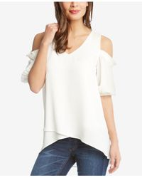 Karen Kane - White Asymmetrical Cold-shoulder Top - Lyst