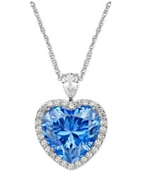 Arabella | Metallic Sterling Silver Necklace, Blue And White Swarovski Zirconia Heart Pendant (19-5/8 Ct. T.w.) | Lyst