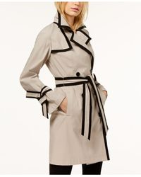 INC International Concepts - Natural Petite Contrast-trim Belted Trench Coat - Lyst